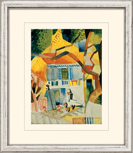 "August Macke: Bild ""Innenhof des Landhauses in St. Germain"" (1914), gerahmt"